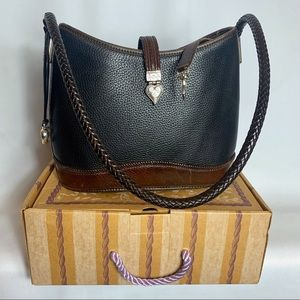 BRIGHTON Leather Purse Brown & Black Bucket Style